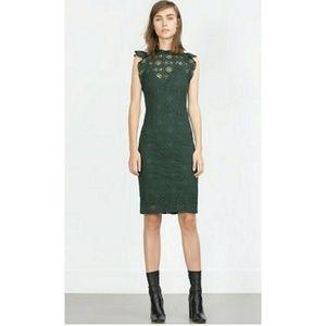 Zara Emerald Green Eyelet Lace Tube Dress
